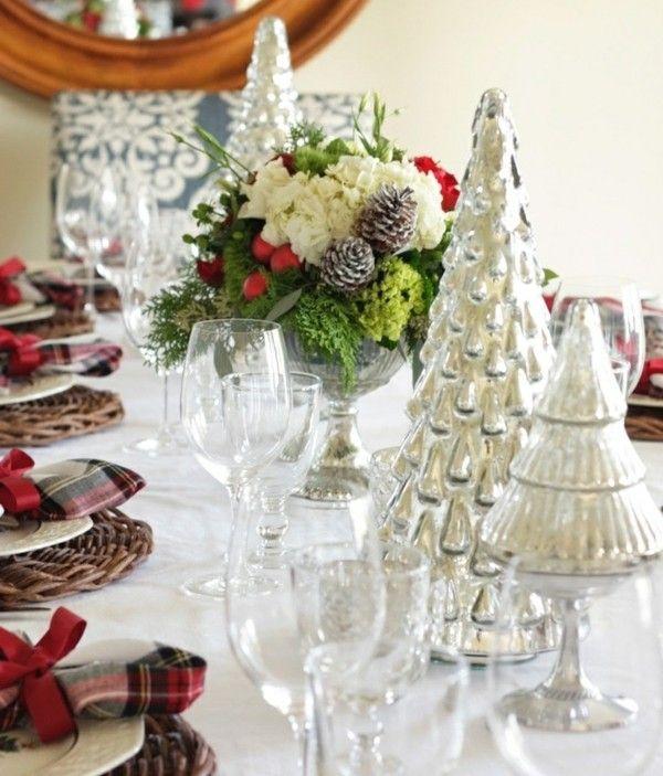 Weihnachten Tisch Deko silberne Bäume Blumen Taufe Pinterest - weihnachtsdeko ideen