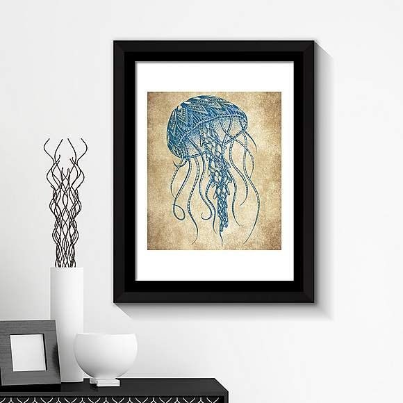 Jellyfish Framed Wall Art In 2020 Fish Wall Art Jellyfish Wall Art Wall Art Canvas Prints