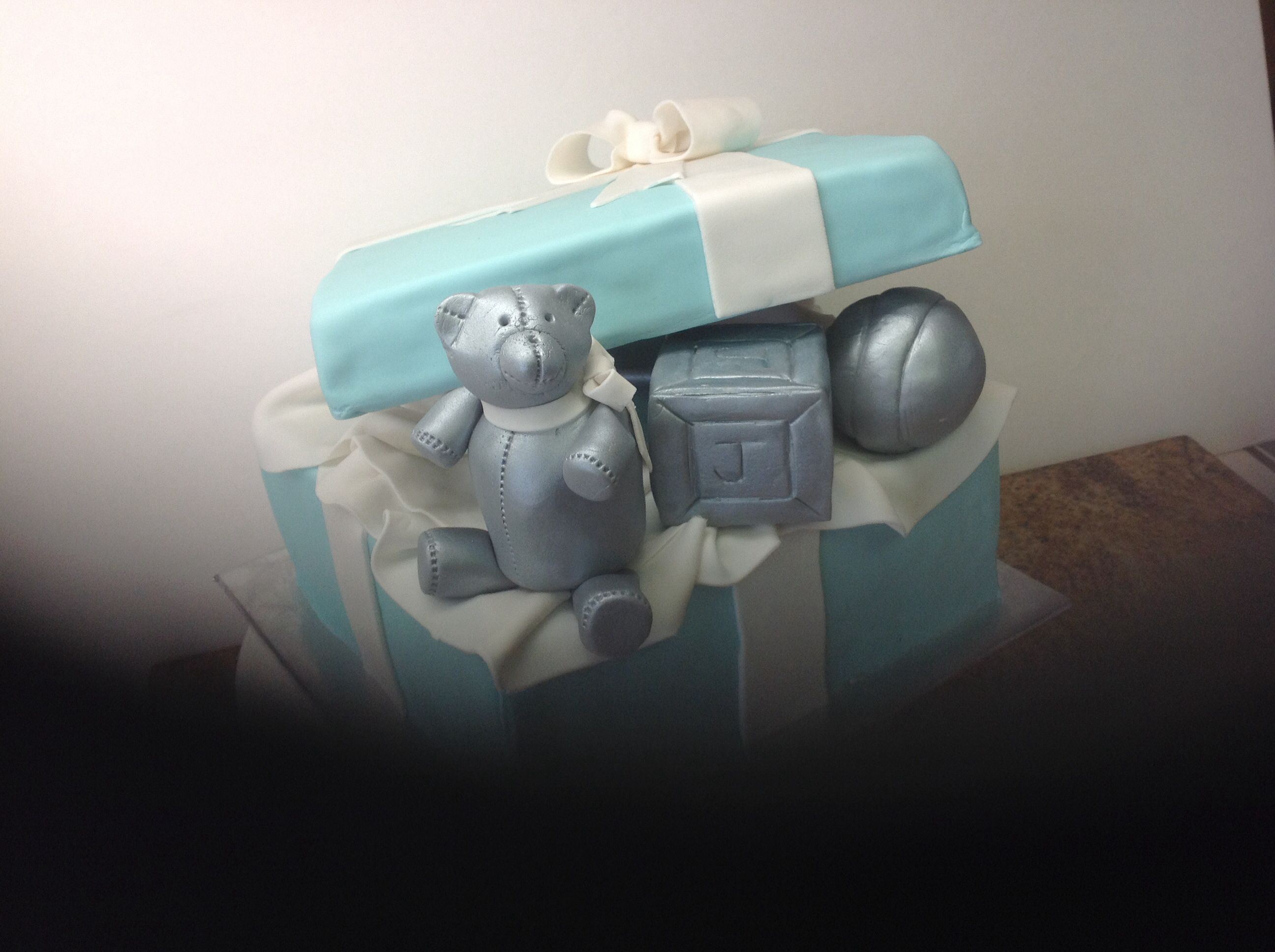 Boy Baby shower, Tiffany box, pewter toys, #leticiasconfections