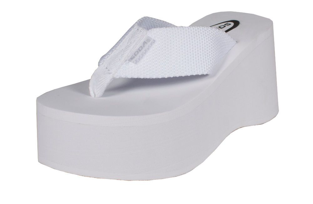51fa9ea495b8 By Soda High Platform Wedge Flip-flop Sandals in White EVA  Soda   PlatformsWedges 3.5 inch