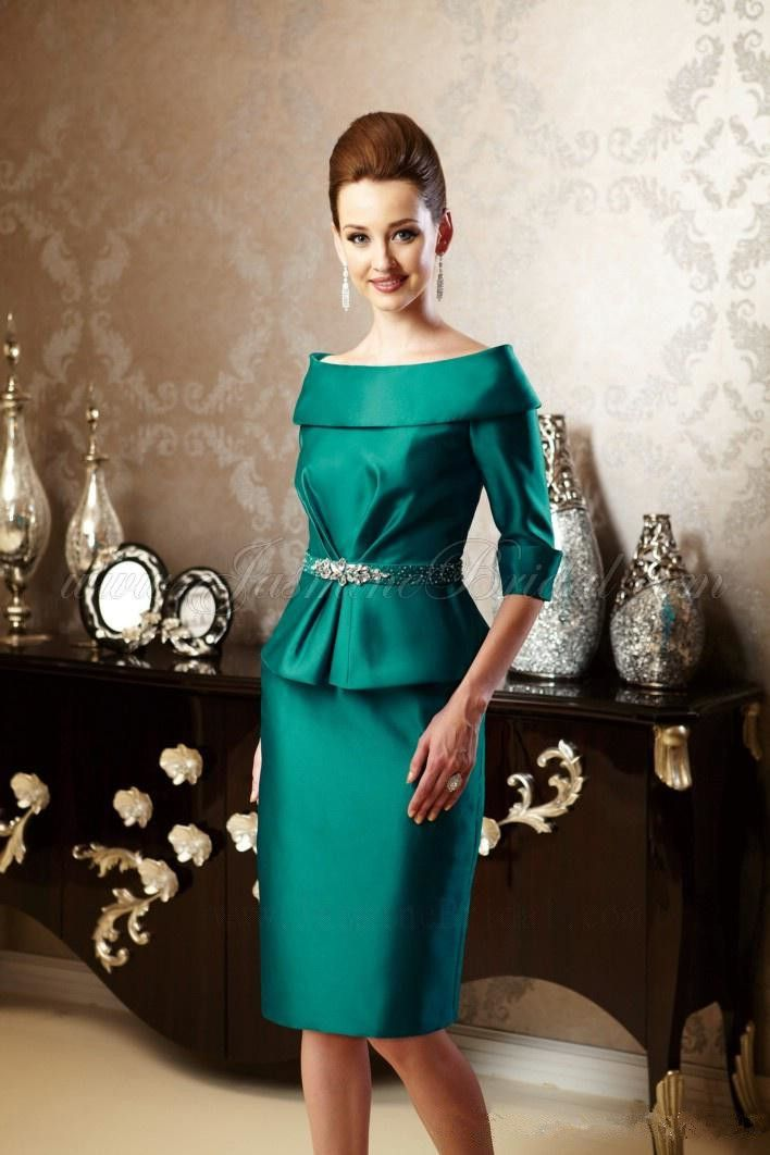 Two Pieces Hunter Green Short Knee Length Mother Dress Suit 2016 ...