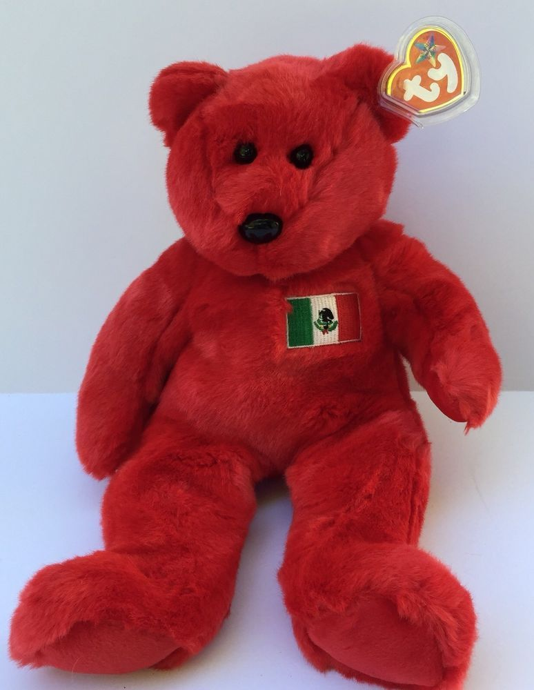 1c91308531b6d Ty Beanie Buddies Plush Osito Mexico Red Bear with Mexican Flag 1999 ...