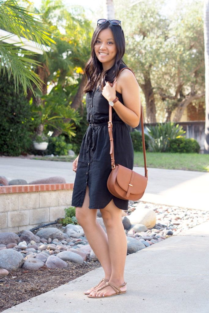 """Black and Tan  Do It is part of Clothes Verano Tans - Friends, if you haven't heard, black and tan is the way to go  I used to get asked that a lot and still do from time to time  YES  Huge, emphatic yes from me! It's one of my favorite combos! About 5 years ago I wore a TON of black  My mom would always comment on how my clothes were """"so darkdark """" Why she needed to add the extra """"dark"""" I'll never understand  Perhaps the quirk of Asian immigrant parents  (Hehe, hi Mom  😀 ) Anyway, the point is that I wore a ton of black, and I only ever thought I could pair it with black or red  Well, that made all my black clothes feel very professional or dressed up which did not really work for my lifestyle or job  The reason I'm in loooove with black and tan is because I think tan softens up black a lot, and I believe it makes black pieces more casual  On another note, I'm loving this dress  I realize it might not be the best with my wider hips and smaller chest kinda accentuates my wider hips from some angles but OH WELL  Life is not perfect and bodies are …"""