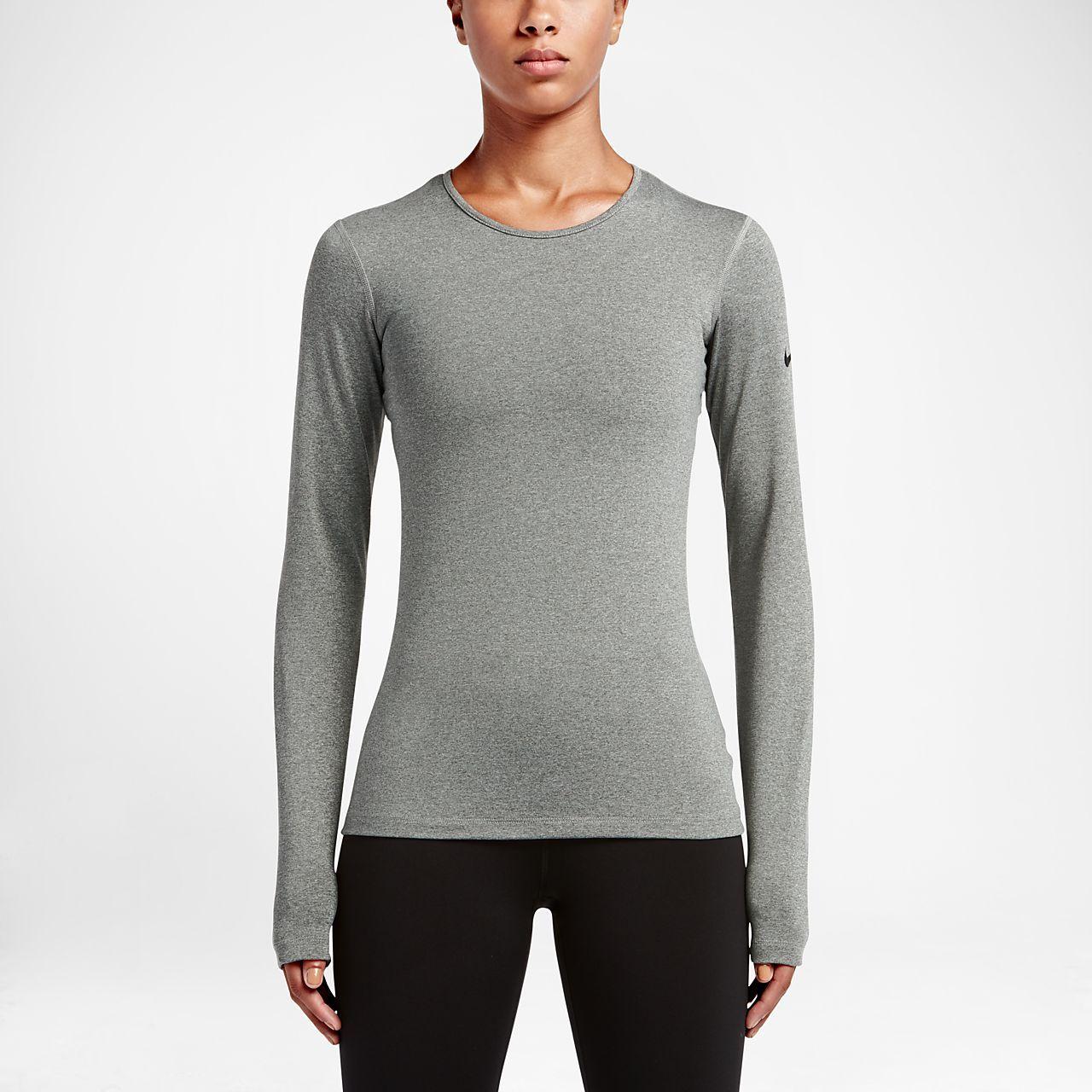 Nike Pro Warm Women's Long Sleeve Training Tops Dark Grey Heather/Black