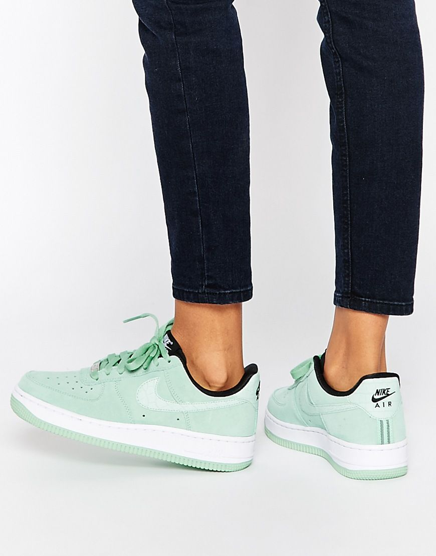 Image 1 of Nike Air Force 1'07 Enamel Green Suede Trainers shoes