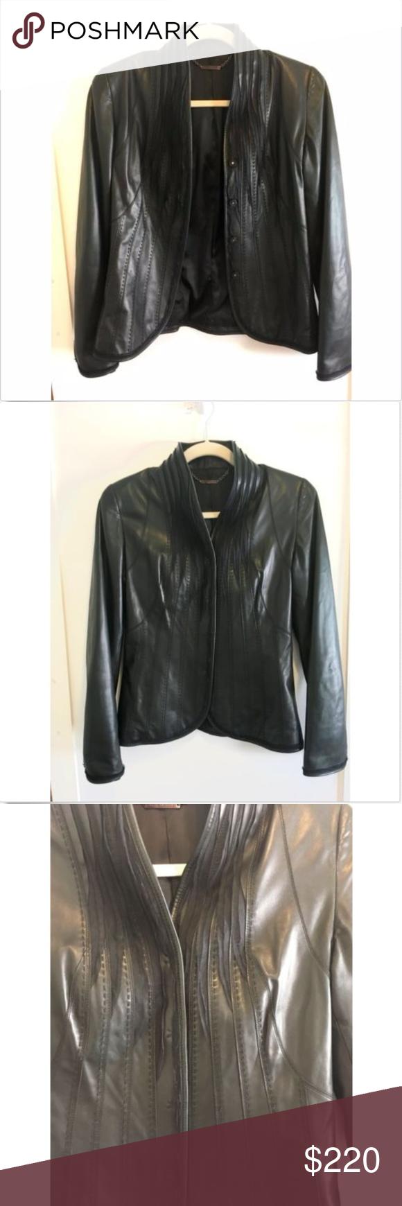 Sold Tahari Black Leather Jacket Moto Elie Tahari Jacket Leather Jacket Clothes Design [ 1740 x 580 Pixel ]