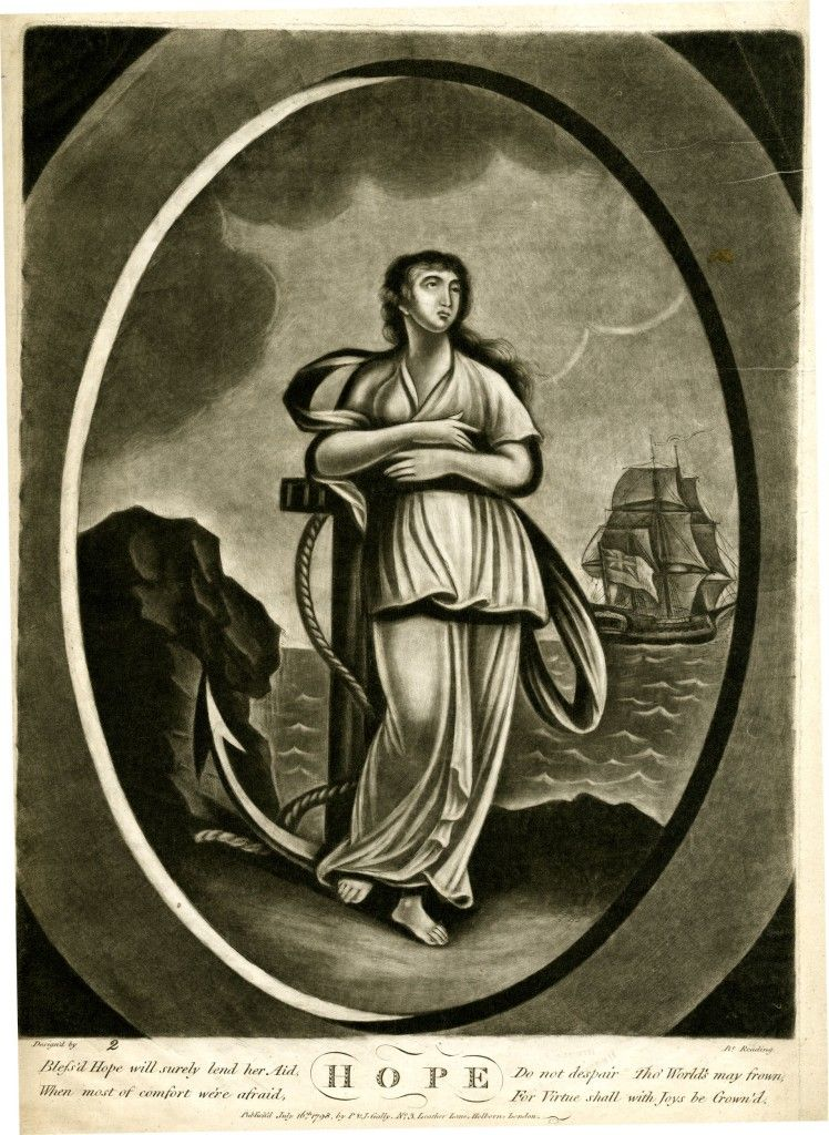 """""""Hope"""" - 1798 Mezzotint with some etching"""