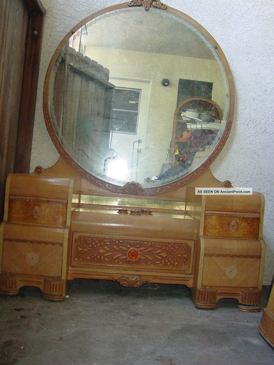 Mid Century 50s Art Deco Blonde Wood Lr Vanity And Mirror