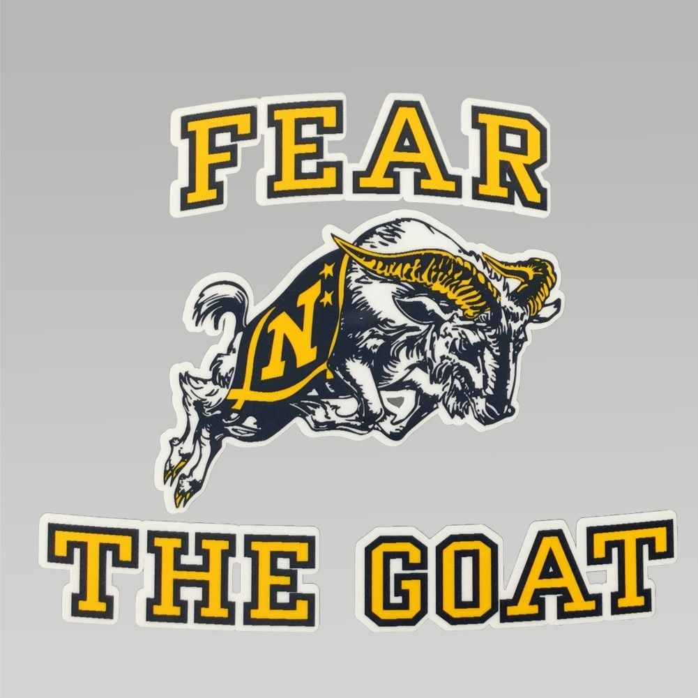 bfe647667a3 Show your Navy Pride with the Navy Fear the Goat Decal. Perfect for your  car or any smooth surface.  nbsp Made in the