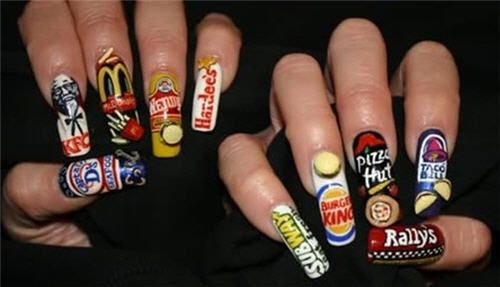 really??  what exactly is this saying about the person who has done this to their nails?  I hope whoever it is gets some type of commission from the restaurants....