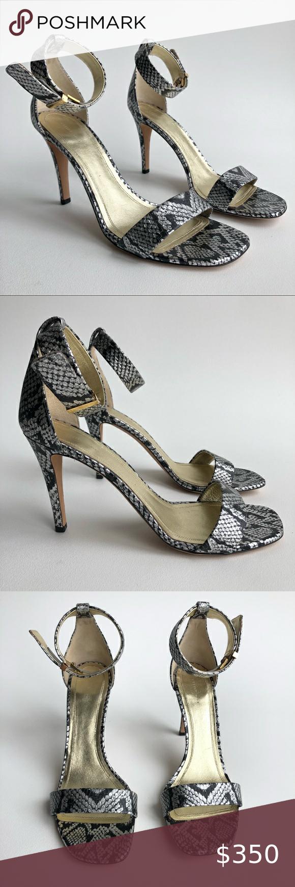 Celine Python Snakeskin Iconic Silver Gold Heels In 2020 Gold Heels Gold Sandals Gold Sandals Heels