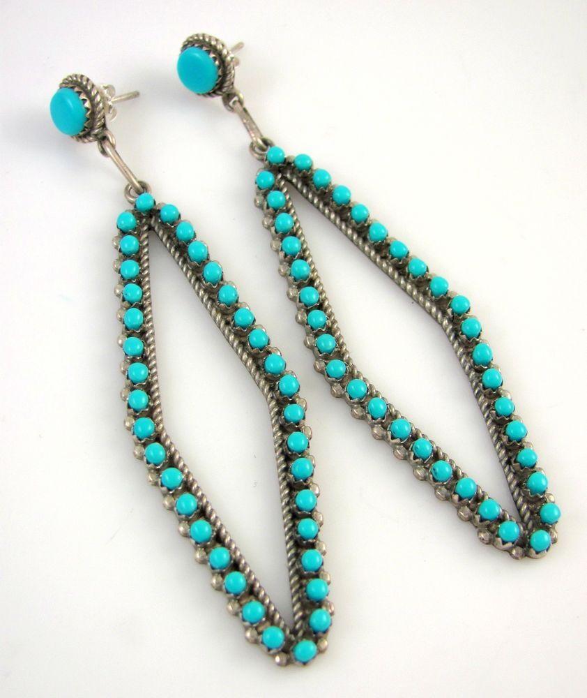 LRG Handmade Zuni Sterling Silver Snake Eye Sleeping Beauty Turquoise Earrings J