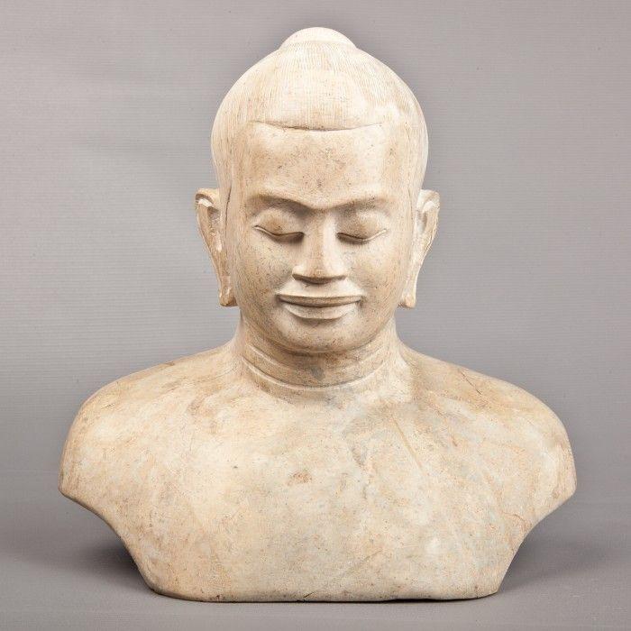 Jayavarman VII Marble | Stone | Sculpture | Affordable Art from Southeast Asia | HD Asian Art