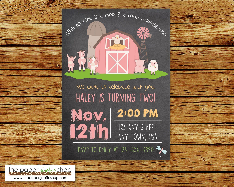 Farm Birthday Invitation Pink Farm Birthday Party Farm Party