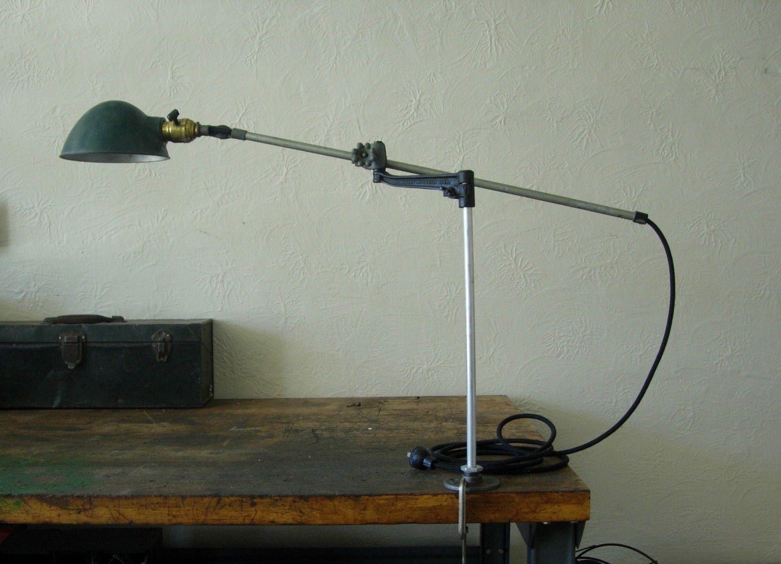Vintage 40s cast iron metal deco industrial gooseneck desk lamp light - Antique Vintage Oc White Machine Age Industrial Adjustable Task Light Lamp
