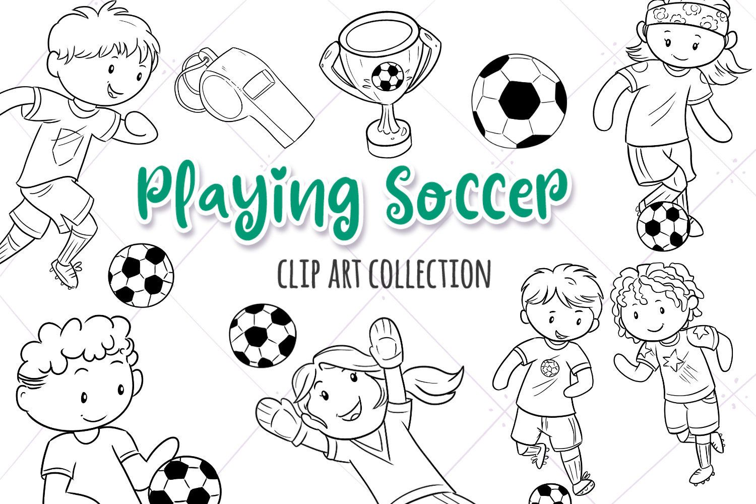 Kids Playing Soccer Sports Digital Stamp Collection Cute Etsy In 2020 Illustrations Kids Digital Stamps Graphic Illustration