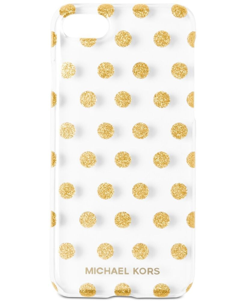 Michael Kors NEW Gold Clear Glitter Dot Iphone 7 Snap On Phone Case