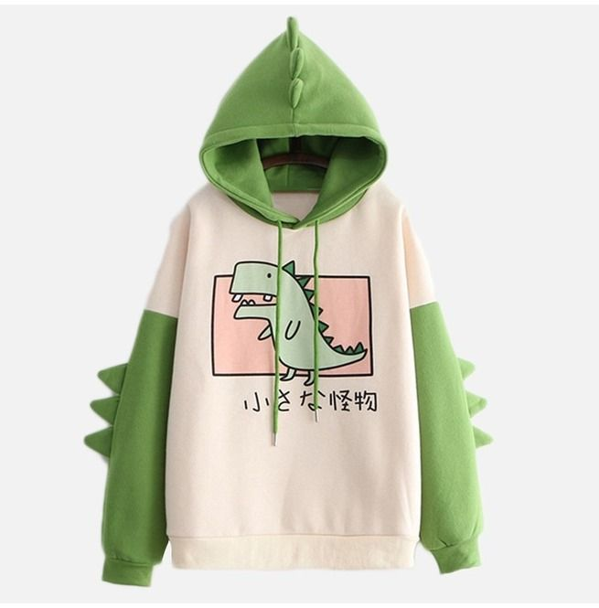 Green Dinosaur Hoodie With Spikes