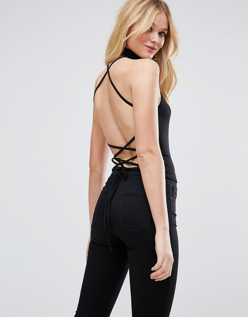 Pictures Sale Online Halter Top with Choker Neck & Strappy Lace Up Back - Black Asos Ebay Online Cheap Sale AMcWOM