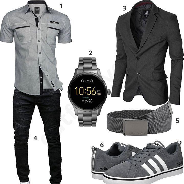 eleganter herren style mit sakko und smartwatch m0354. Black Bedroom Furniture Sets. Home Design Ideas