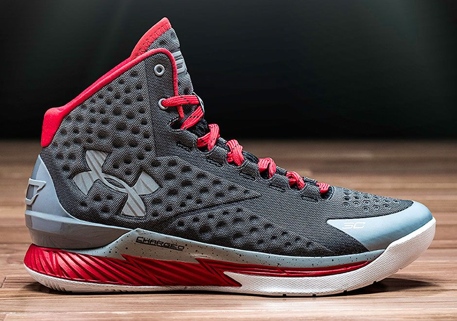 Kids Under Armour Curry One 1 Comfortable sneakers University Black Metallic Gold Red