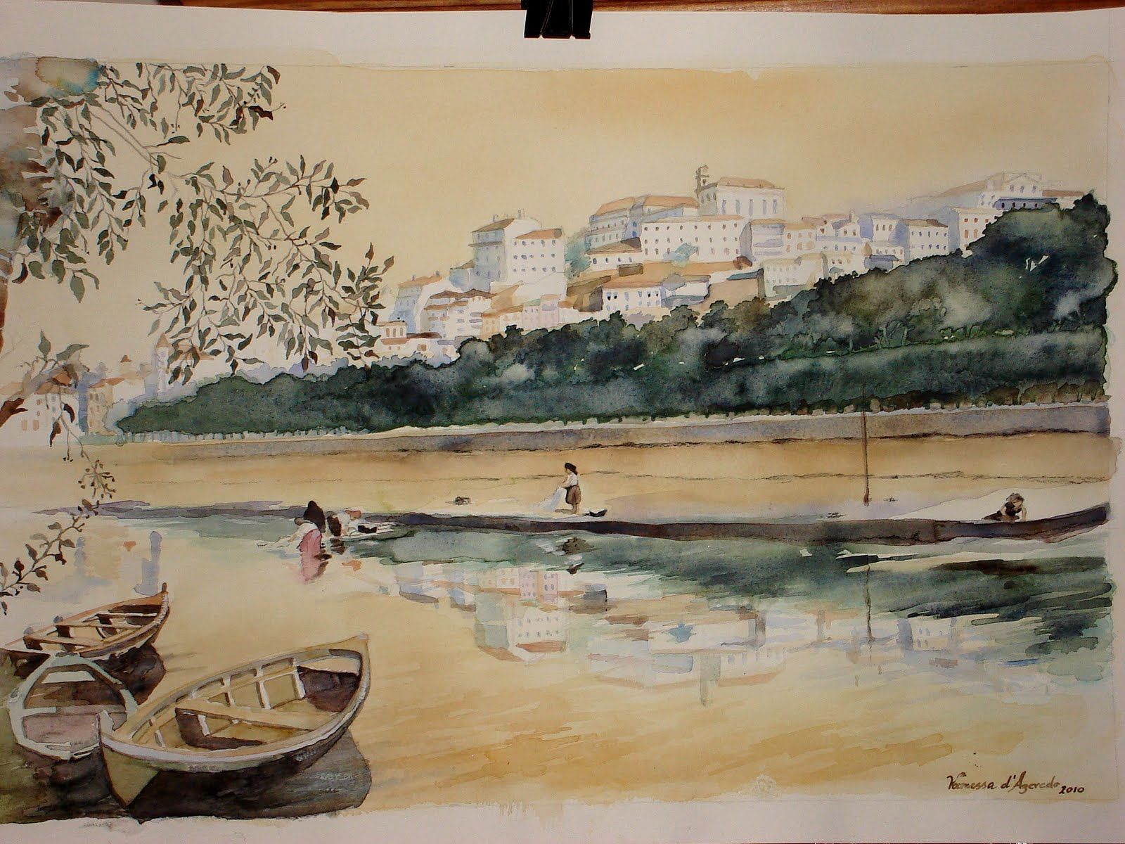 View of the city of Coimbra in the old days, watercolour by Vanessa Azevedo