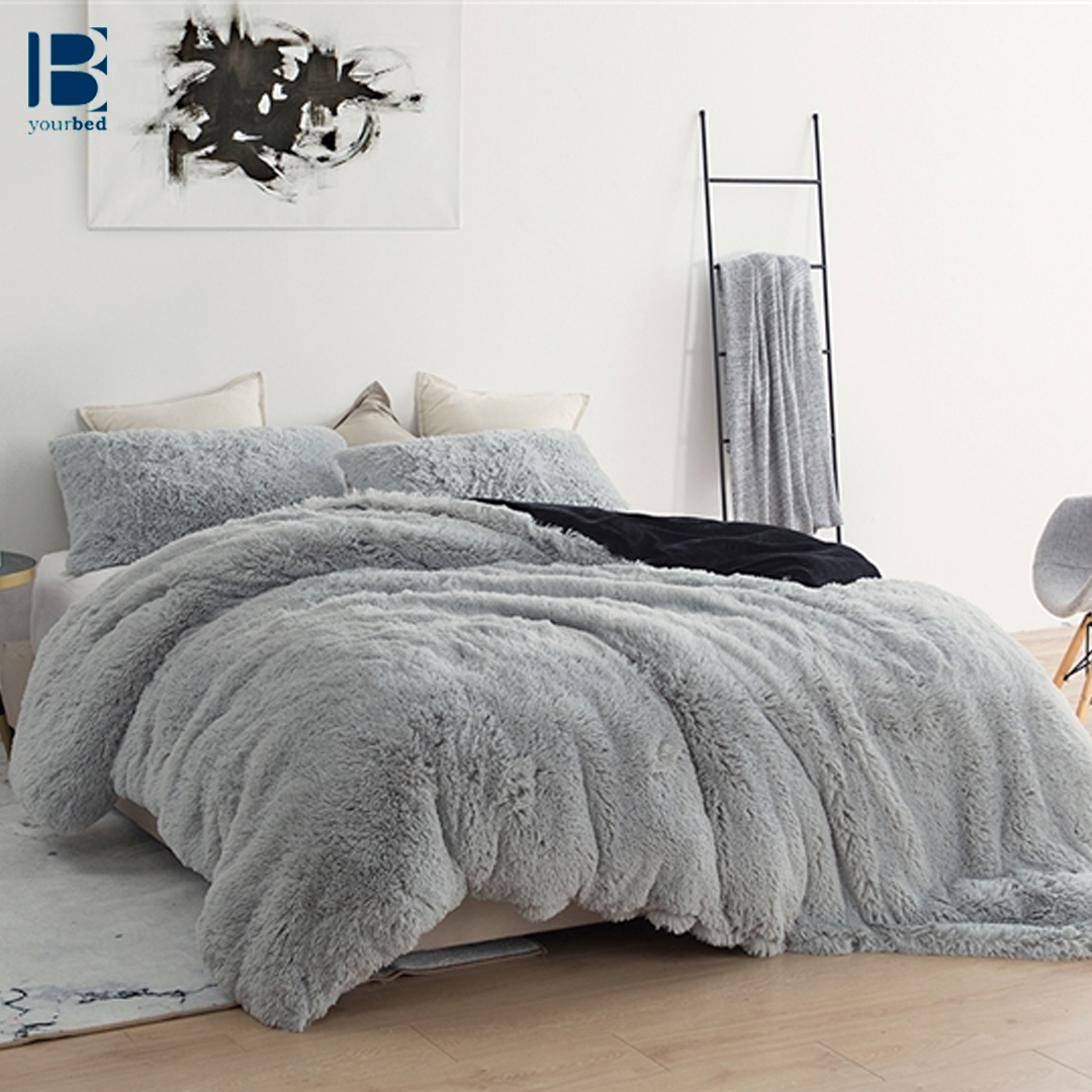 Gray And Black Super Soft Oversized Duvet Cover In Oversized Twin