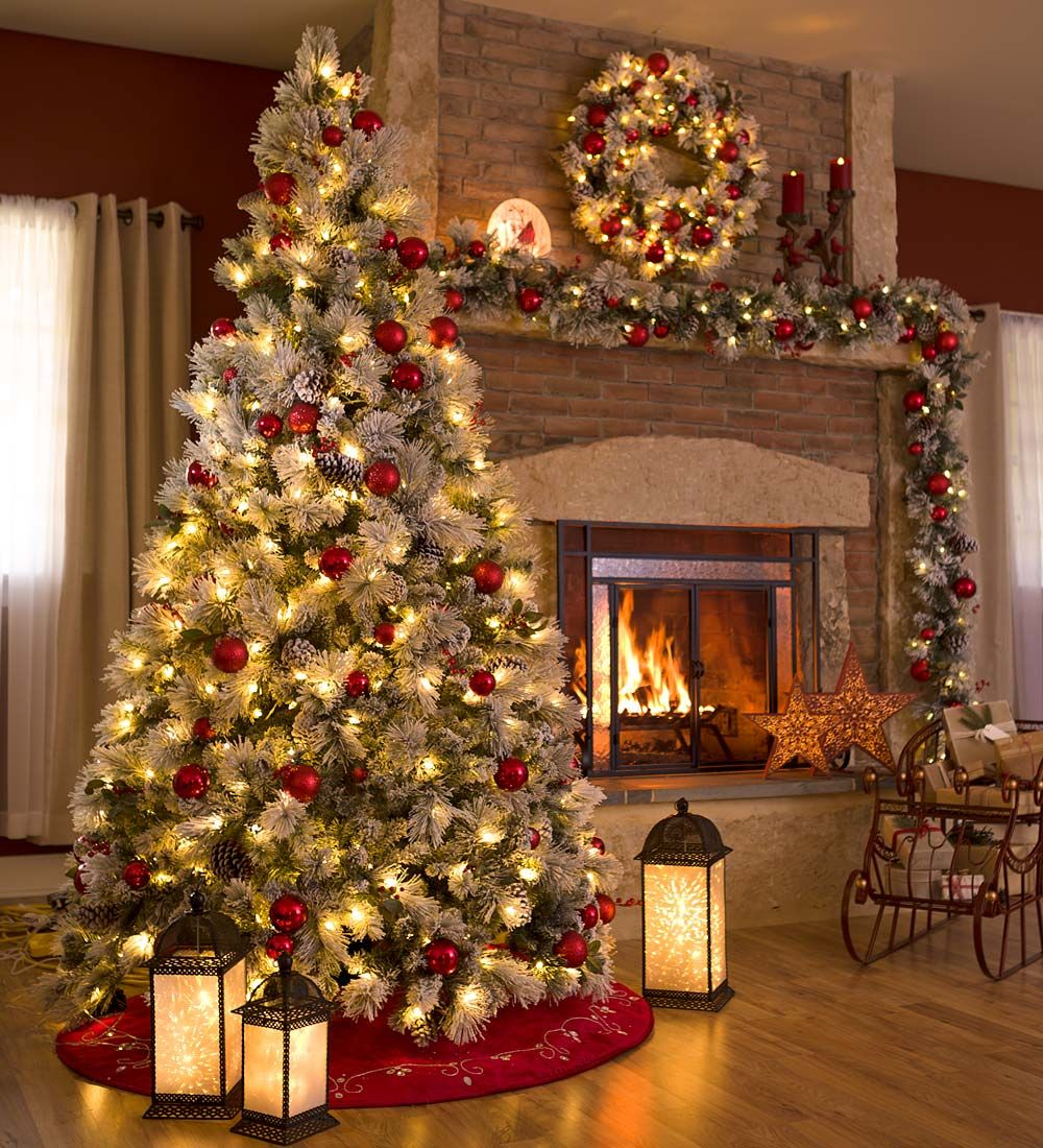 Beautiful Christmas Tree Pictures: Fairfax Lighted Decorated Christmas Tree With Flocking, 7½
