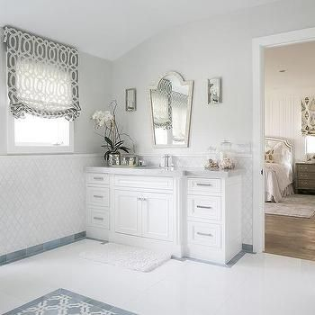 White Washsatnd With Cream Bone Inlay Mirror Bathroom Countertop - White marble bathroom wall tiles
