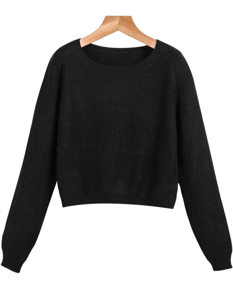 abc9dddf517c2 Shop Black Long Sleeve Crop Cable Knit Sweater online. Sheinside offers  Black Long Sleeve Crop Cable Knit Sweater   more to fit your fashionable  needs.
