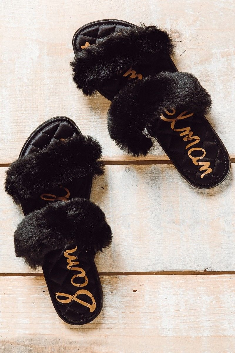 eb16b2c660ba SAM EDELMAN Griselda Faux Fur Slide In Black