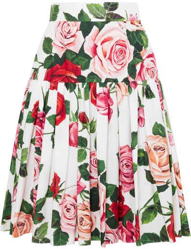 e22c64d97 Dolce & Gabbana - Floral-print Cotton-poplin Midi Skirt - White in ...