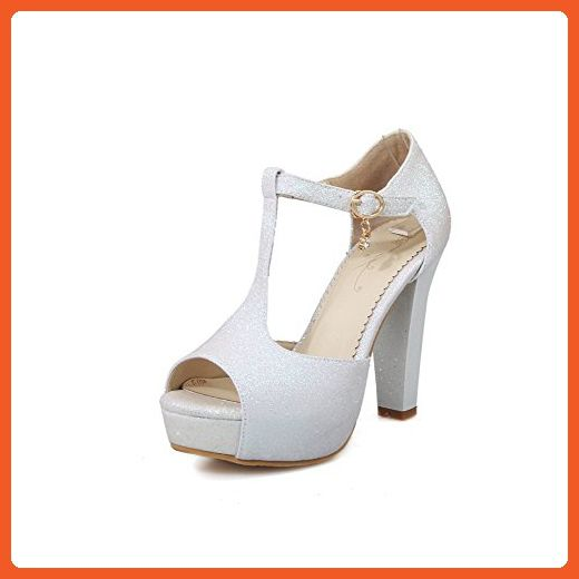 AllhqFashion Women's Soft Material Peep Toe High Heels Buckle Solid Sandals, White, 37 - Sandals for women (*Amazon Partner-Link)