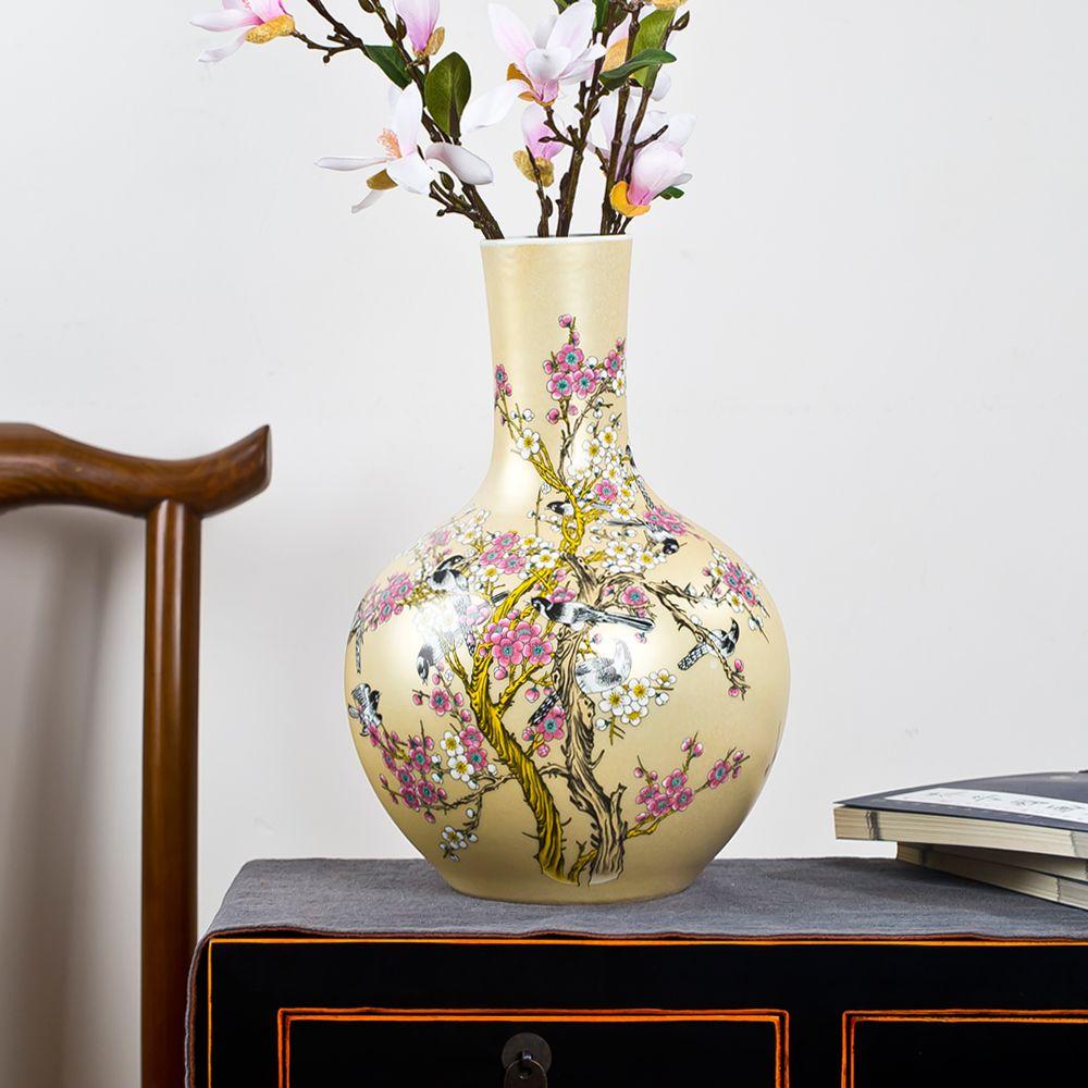 Jingdezhen Ceramic Big Vase New Chinese Style Golden Magpie Plum ...