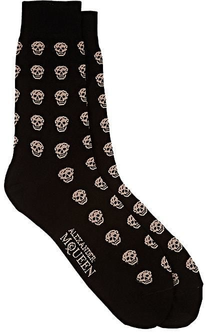 26eec381c619 Alexander McQueen Men's Skull-Pattern Cotton-Blend Mid-Calf Socks ...