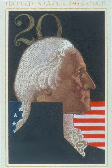 George Washington, ©1982 United States Postal Service, All Rights Reserved).  Mark English designed 13 stamps for the US Postal Service.