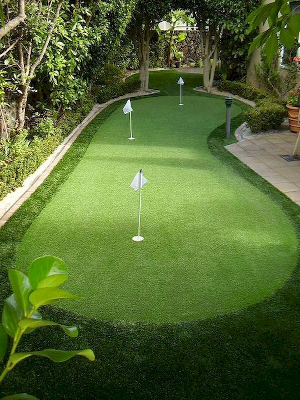 50 Green Backyard and Front Yard Landscaping Ideas   Green ... on Small Backyard Putting Green id=62231