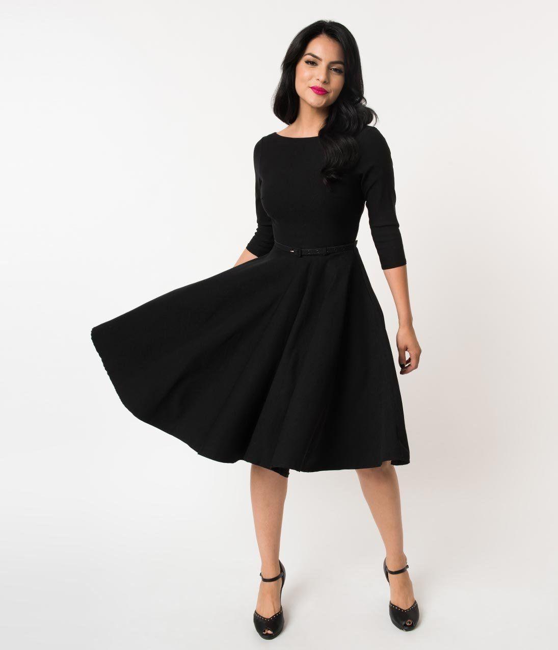 c861f13e73e Unique Vintage 1950s Style Black Stretch Sleeved Devon Swing Dress