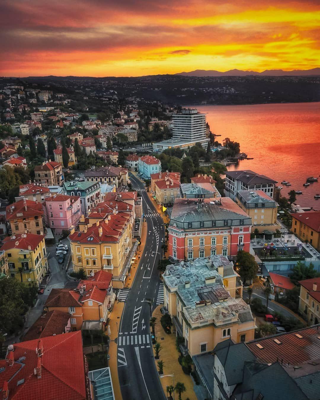 Franv On Instagram Opatija Croatia Sunrise In Opatija Opatija Croatia Sunrise Hrvatska Adriaticsea A Europe Travel Croatia Places To Visit