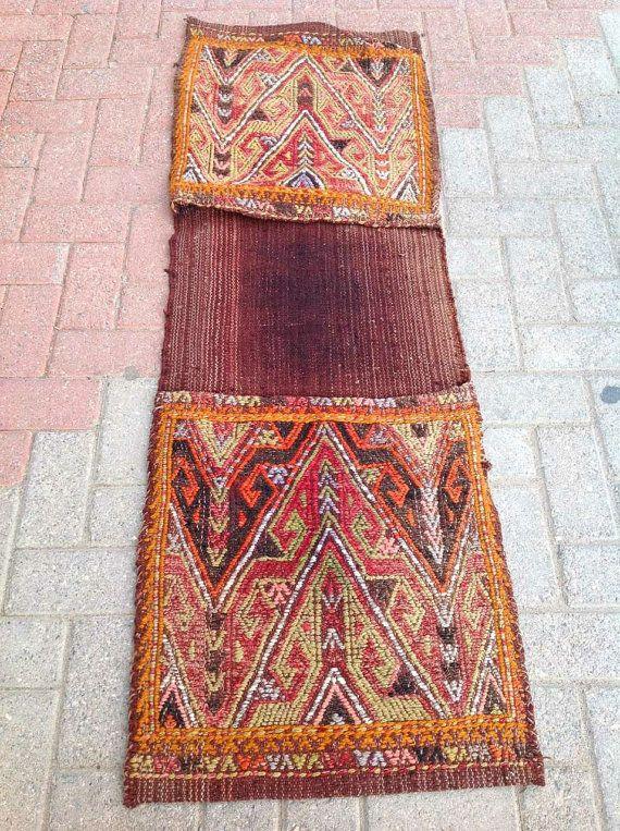 Vintage Handwoven Wool Saddle Bag