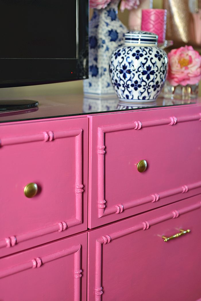 History In High Heels: DIY Hot Pink Bamboo TV Stand (Ikea Hack ...
