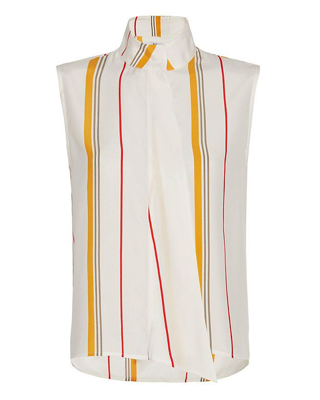 d20183bbb73f61 FRAME EXCLUSIVE Striped Draped Front Sleeveless Blouse  Sleeveless striped  silk blouse with two hidden button