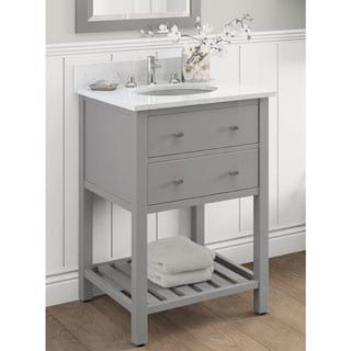 For Alaterre Harrison Carrera Marble Sink Top With Grey 24 Inch Bath Vanity