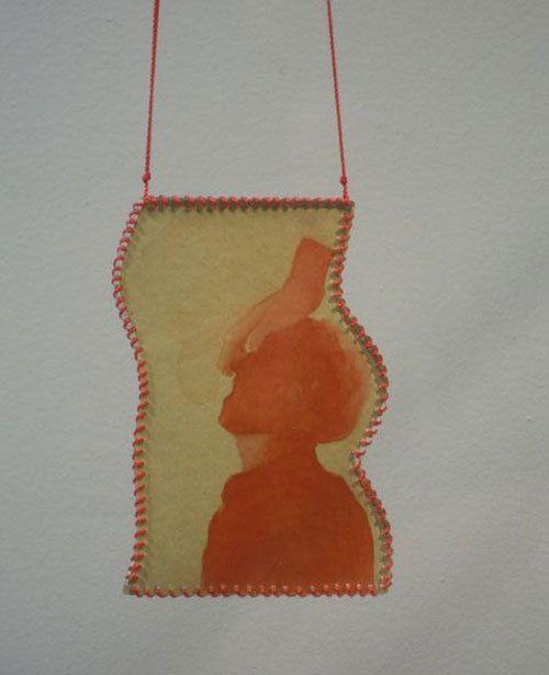 Teresa Milheiro Necklace: Exorcista Draw plastic, red thread, silver Jewel ( Teresa Milheiro) Draw (António Faria)
