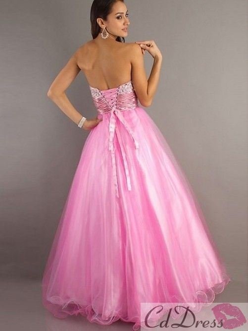 Charming A-Line Sweetheart Tulle and Beading Long Prom DressSKU: PD000065