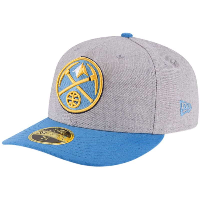 outlet store 853ab 044dc Denver Nuggets New Era Two-Tone Low Profile 59FIFTY Fitted Hat - Heathered  Gray Light Blue