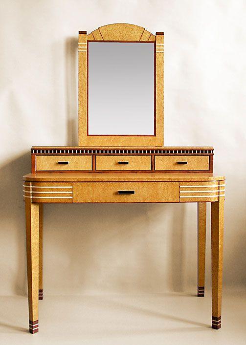 Art Deco Vanity Table With Mirror This Beautiful Style Is Made Of Birdseye Maple Bubinga And Ebony