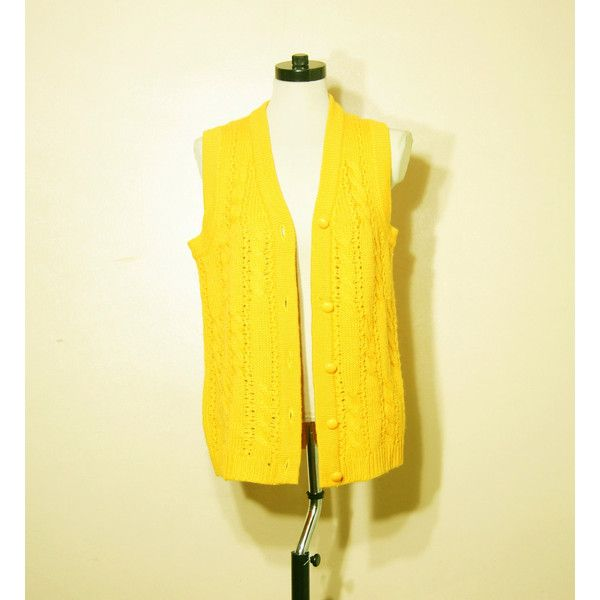 70s Sweater Vest Small Medium Mustard Yellow Grandpa Oxford Preppy ...