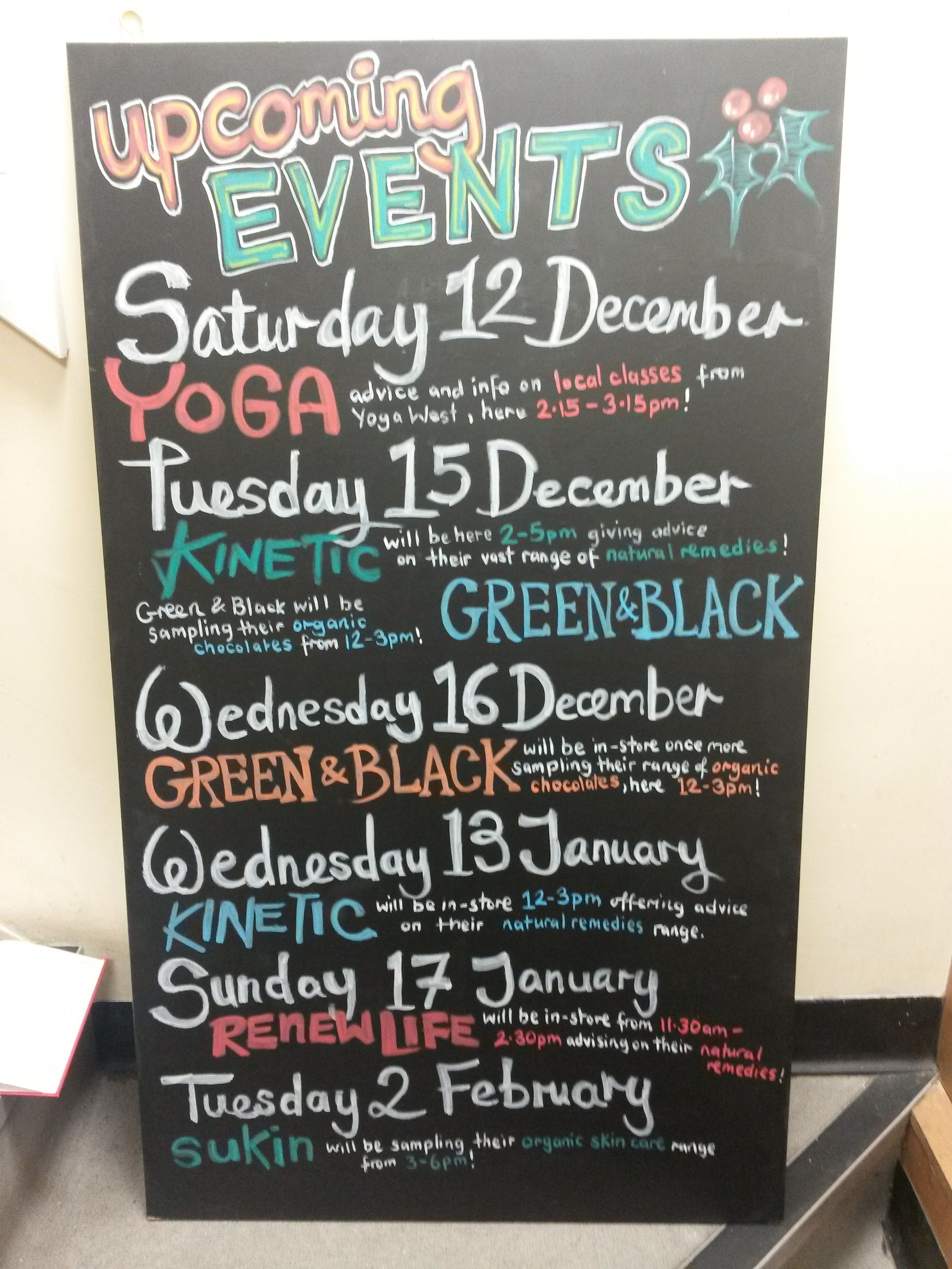 Upcoming Events P13w2 Ealing December 2015 Chalkboard Art Chalkboard Chalk