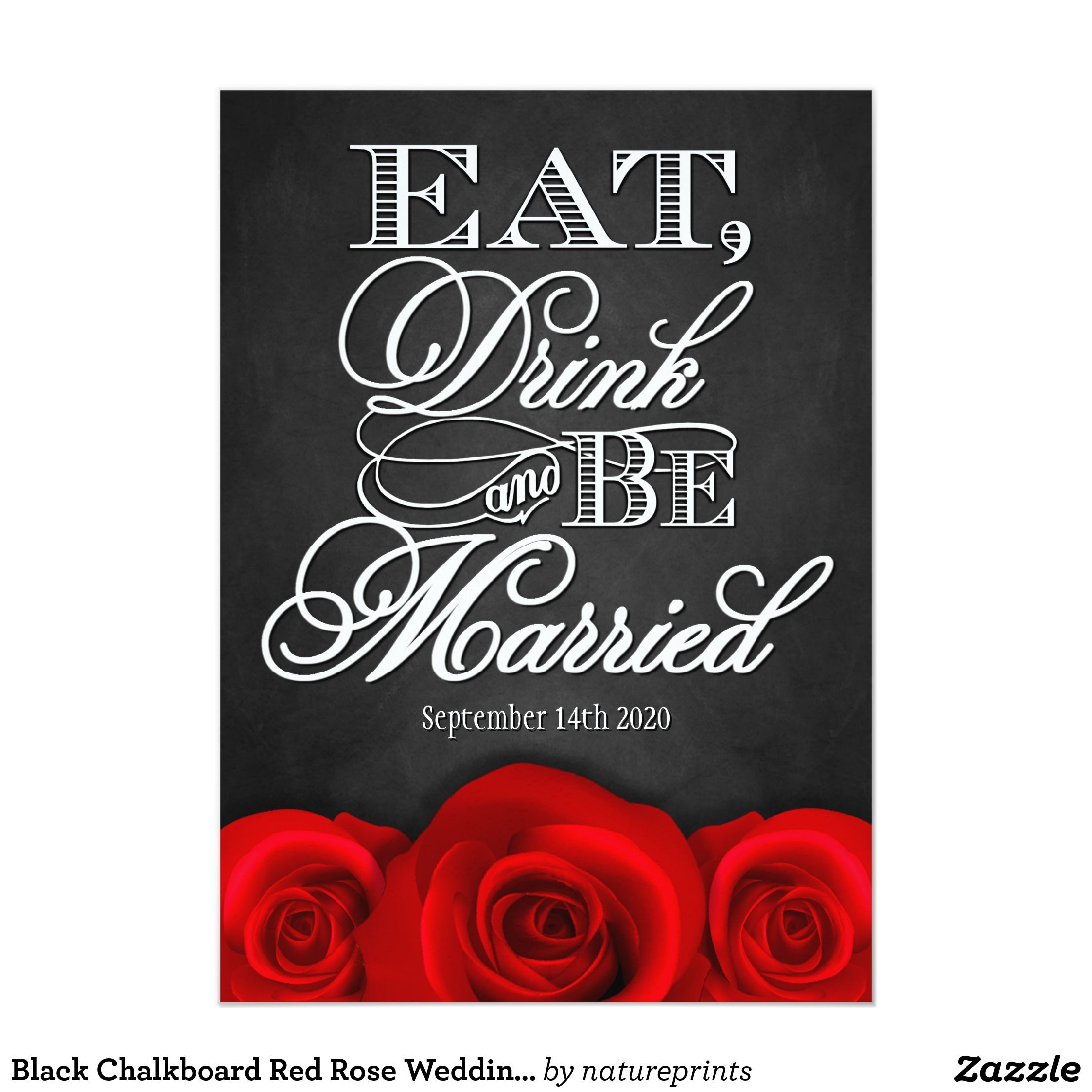 Black Chalkboard Red Rose Wedding Invitations | Black chalkboard ...